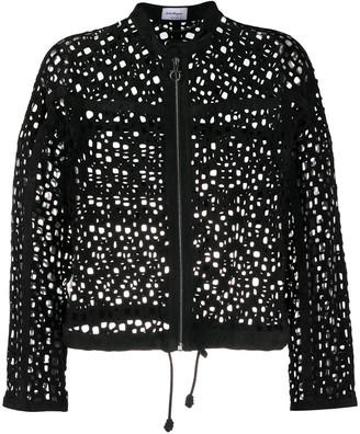 Salvatore Ferragamo Perforated Front Zip Jacket