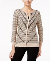 August Silk Printed Contrast Ribbed Trim Cardigan