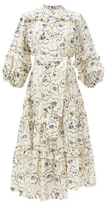 Apiece Apart Gracia Floral-print Ruffle-trimmed Silk Midi Dress - Cream Print