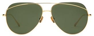 Linda Farrow Aviator Metal Sunglasses - Womens - Dark Green