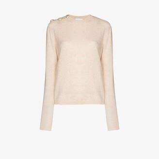 Ganni Crystal button cashmere sweater