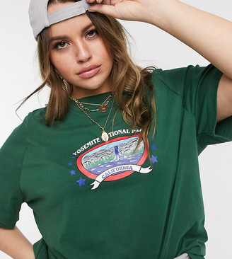 Daisy Street Plus relaxed t-shirt with yosemite print