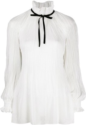 Philosophy di Lorenzo Serafini Plisse High-Neck Blouse