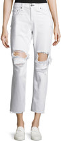 Rag & Bone Destroyed Boyfriend Ankle Jeans, White