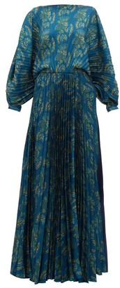 ZEUS + DIONE Crete Pleated Fan-print Satin Maxi Dress - Blue Multi