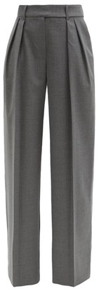 Alexandre Vauthier High-rise Wide-leg Wool-blend Trousers - Dark Grey