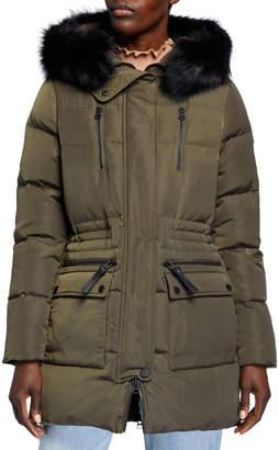 Derek Lam 10 Crosby Detachable Fur-Trim Down-Fill Anorak Coat