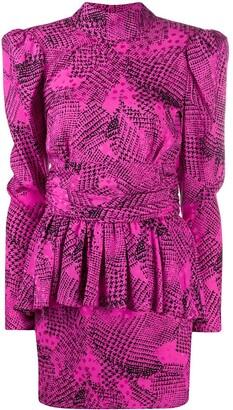 Alessandra Rich Peplum Abstract Print Dress