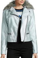 A.N.A a.n.a Faux Fur-Collar Metallic Moto Jacket