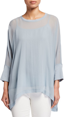 Eileen Fisher Sheer Silk Georgette Top w/ Camisole