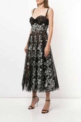 Marchesa Tulle Corseted Bodice Midi Dress