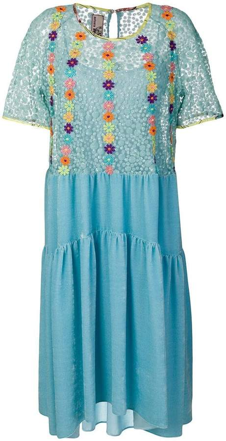 Antonio Marras floral-embroidered flared dress