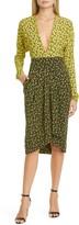 Philosophy di Lorenzo Serafini Two-Tone Floral Print Long Sleeve Crepe de Chine Dress