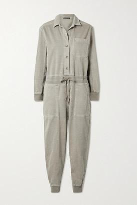 James Perse Mixed Media Slub Cotton-blend Twill Jumpsuit - Beige