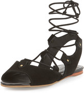 Bernardo Olivia Suede Lace-Up Gladiator Sandal, Black