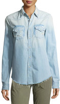 Mother Shady Ex's Button-Front Distressed Denim Shirt