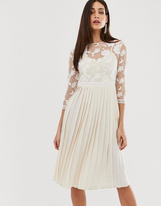 Little Mistress lace embroidered top midi dress in cream