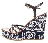 Miu Miu Embroidered Wedge Sandals