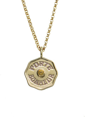Marlo Laz Mini Citrine and Pink Enamel Porte Bonheur Coin 20 Inch Necklace - Yellow Gold