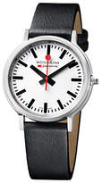 Mondaine Unisex Stop 2 Go Leather Strap Watch, Black/white