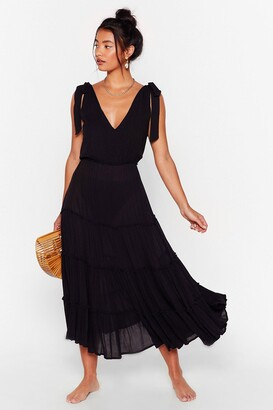 Nasty Gal Womens Cut Ties Cover-Up Midi Dress - Black