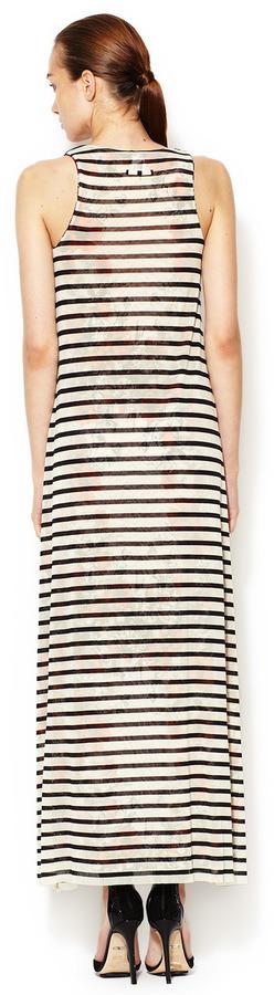 Jean Paul Gaultier Striped Rose Lined Scoopneck Maxi Dress
