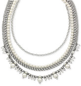 BCBGeneration Silver-Tone Imitation Pearl Chain Collar Necklace