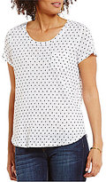 Vince Camuto Two by Short Sleeve Dreamy Polka Dot Printed Linen Tee