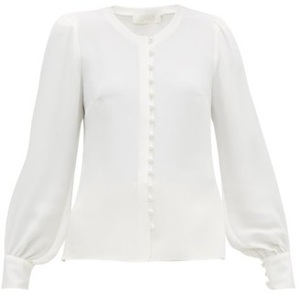 Goat Jude Faux-pearl Button Silk Blouse - White