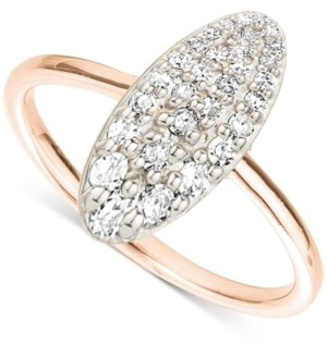 Elsie May Diamond Pave Oval Ring (1/8 ct. t.w.) in 18k Gold-Plated Sterling Silver