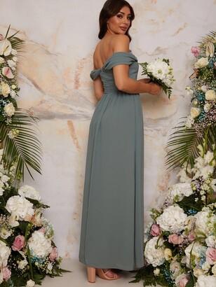 Chi Chi London Bardot Draped Chiffon Bridesmaid Dress - Green