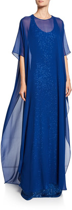 St. John Sequin Illusion Gown with Silk Georgette Overlay