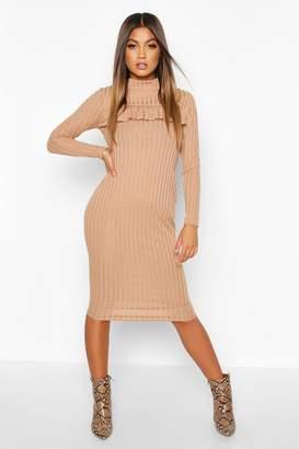boohoo Rib High Neck Ruffle Long Sleeve Midi Dress