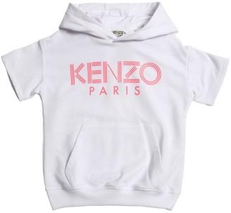 Kenzo Logo Print Cotton Blend S/s Sweatshirt