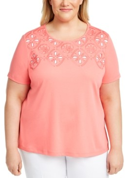 Alfred Dunner Plus Size Miami Beach Embellished Eyelet Top