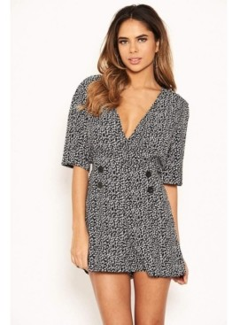 AX Paris Women's Button Wrap Romper