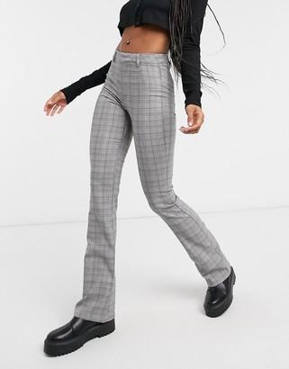 Bershka check flare pant in grey