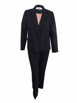 Le Suit LeSuit Women's Pinstripe 1 Button Shawl Collar Pant Suit with Cami