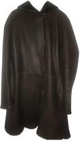 Yves Salomon Navy Leather Coat for Women