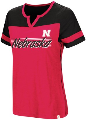 Colosseum Women's Scarlet Nebraska Cornhuskers Coach V-Notch T-Shirt