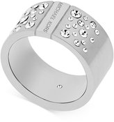 Michael Kors Logo Crystal Studded Statement Ring