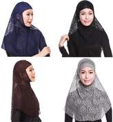 GladThink 4 X Womens Muslim Lace 2 Pieces Hijab Scarf Set No.1