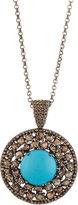 Bavna Round Turquoise & Polki Diamond Pendant Necklace