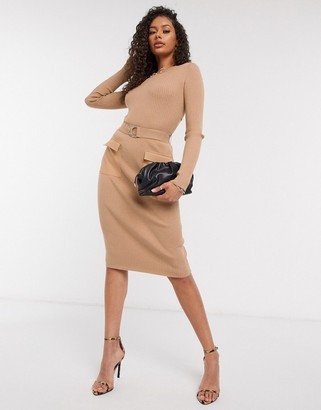 4th & Reckless belted midi skirt co ord in camel
