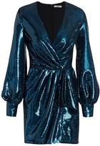 Amen Balloon-Sleeve Paillette Faux Wrap Dress