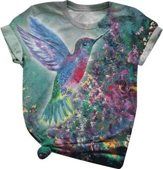 Loveletters  Loveletters Women's Hummingbird Pattern Printed O Neck Short Sleeve Tops Blouse Casual Summer Retro T-Shirt Graphic Tee Green