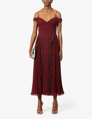 Self-Portrait Lace-embroidered crepe midi dress