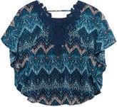 Speechless Print Circle Crochet Lace Top - Girls 7-16
