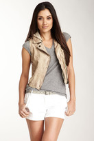 Doma Genuine Leather Moto Vest with Detachable Hood