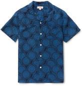 J.Crew Camp-collar Printed Silk And Linen-blend Shirt - Blue